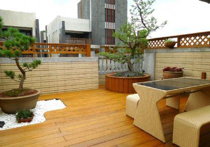 露台定制高端户外地板图片 户外防腐木露台地板案例